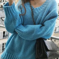 New Blue V-neck Long Sleeve Oversized Casual Pullover Sweater