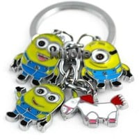 Despicable Me toys Keychain Set - Dave, Jorge, Stewart, Agnes the Unicorn