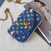 Louis Vuitton LV Hot Sale Women's Letter Denim Embroidered Letter Flip Crossbody Bag Shoulder Bag