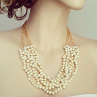 Gold Bridal Necklace, Pearl Necklace Gold, Wedding Necklace Gold, Creme White Pearls Statement Bridal Jewelry