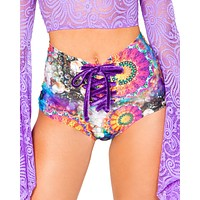 Trippy Prints Lace Up High Waist Rave Bottoms