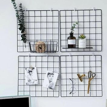 Fashion Casual 1pc Iron Grid Wall Hanging Decorative Rack