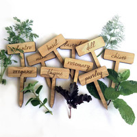 Herb Garden Plant Markers / Set of 10 Wood Engraved Labels