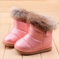 Winter Plush Baby Girls Snow Warm Pu Leather Flat With Baby Toddler Boots