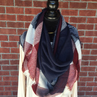 Cool Days Navy  Blanket Scarf