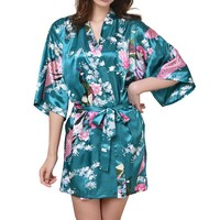 2017 Women's Kimono Robe Bathrobe Women Satin Robe Robe Longue Femme For Women Night Sexy Robes For Bridesmaid Summer