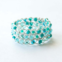 Aqua and Silver Braided Ring, Wire Wrapped Jewelry, Celtic Ring
