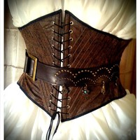 Pirate Wench Faux Tooled Leather Underbust waist Corset - custom size