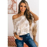 Dancing Shadows Tie Dye Knit Top (Taupe Multi)