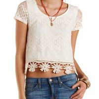 Crochet & Embroidered Mesh Tee by Charlotte Russe