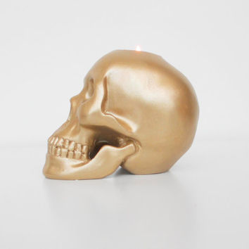 Candle Holder, Gold, Skull, Votive Holder, Home Decor, Metallic, Gold Skull