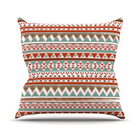 "Nika Martinez ""Boho Mallorca"" Red Multicolor Throw Pillow"