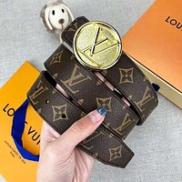 LV Louis Vuitton New fashion monogram print leather couple belt