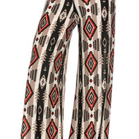 Printed High Waist Palazzo Pants with unfinished