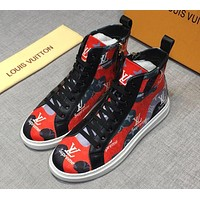 Louis Vuitton x Supreme co-branded new men's high-top wild sports shoes red