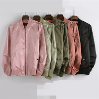 New fall collar satin zipper baseball uniform jacket