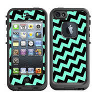 Skins FOR Lifeproof iPhone 5 Case - Tilted Chevron Teal blue / green and Black diagonal - Free Shipping - Lifeproof Case NOT included