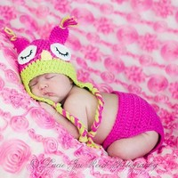Baby Boy Girl Crochet Sleepy Owl Hat Beanier and Diaper Cover Outfit Costume Photo Props+Free Gift,Lace Doilies,Random Colors