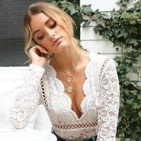 Sexy White Lace Bodysuit Women Hollow Out Long Sleeve Embroidery Floral Bodycon Rompers Women Deep V-Neck Guipure Boho Bodysuit