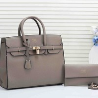 HERMES Women Fashion Leather Handbag Satchel Tote Purse Wallet Set Two Piece