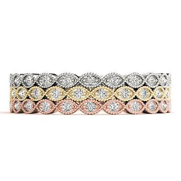 Stackables 3/4 Eternity Milgrain Tri-Tone Gold Petite Milgrain Marquise Bezel-Set Diamonds 3-Band Set Selectables