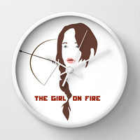 KATNISS - The Girl on Fire Wall Clock by Lauren Lee Designs