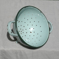 French vintage blue enamel colander / duck egg blue / shabby chic / cottage chic / country home / vintage enamelware / country kitchen