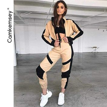 Sporting 2 Piece Sets Clothes Streetwear Short Baseball Jackets Black Stripe Patchwork Cargo Pants Tracksuits