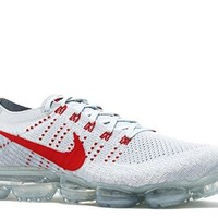 Nike Mens Lab Air Vapormax Flyknit Platinum/Red Fabric