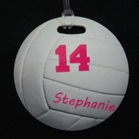 personalized Round Volleyball Bag Tag
