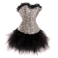 Strapless Lace Corset Tutu Mini Dress