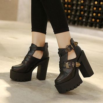 Spring Autumn Female Pumps Round Toe Platform Thick High Heeled Women Single Shoes Casual Cut-outs Buckle Sexy Ankle Boots