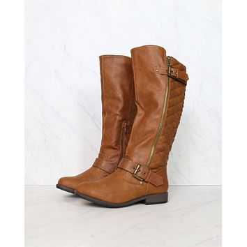 Lia Tall Quilted Riding Boots in Chestnut
