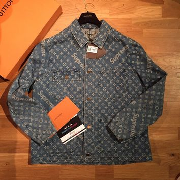 LOUIS VUITTON SUPREME DENIM BARN JACKET X LARGE 56 AUTHENTIC LV XL MONOGRAM XXL