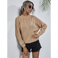 Cable Knit Raglan Sleeve Sweater