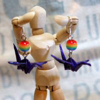 Hand Folded Purple Origami Crane Earrings with Rainbow Bead Accent Great Gift Idea