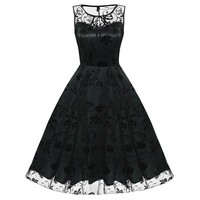 Retro Women Vintage Style Sleeveless Embroidery Dress