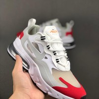 HCXX 19Aug 544 Nike Air Max 270 React Fashion Women Men Breathable Running Shoes Red Grey White