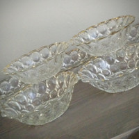Set of 7, vintage glass berry dishes, gold detailed dessert bowls, bubble pattern with scalloped edges, kitchen and serving
