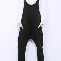 Mid-Waisted Pocket Design Overalls