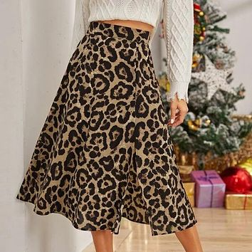 Leopard Print Side Split Skirt