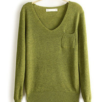 Candy Color V-Neck Mini Pocket Knitted Pullover