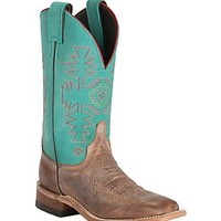 Justin Bent Rail Women's Rust Florence with Turquoise Dakota Double Welt Square Toe Western Boots