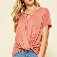 Rose Criss Cross Knot Top