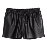 Imitation Leather Shorts - from H&M