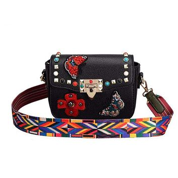 Fashion Embroidery Butterfly Floral Women messenger shoulder Bag