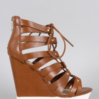 Women's Bamboo Caged Lug Sole Contrasting Wedge
