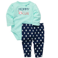 "Carter's Girls ""Mommy Says I'm Cute"" 2 Piece Embroidered Long Sleeve Bodysuit and Owl Printed Pant Set"