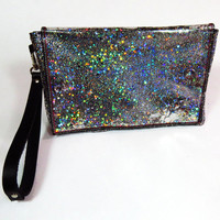 Holographic Leather Clutch Bag Black and Silver Bag Holographic Glitter Clutch