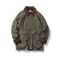 Men's Wax Oil Coat Waxed Waterproof Jacket Vintage Clothes Trench Coat